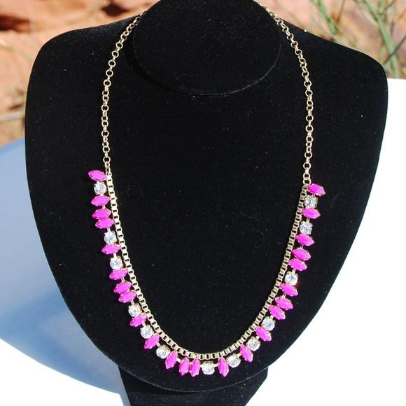 J. Crew Adj Length Rhinestone & Pink Gem Necklace